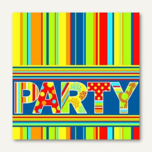 "Motivservietten ""New Party"", 1/4-Falz, 3-lagig, 33 x 33 cm, 200 Stück, 81077"