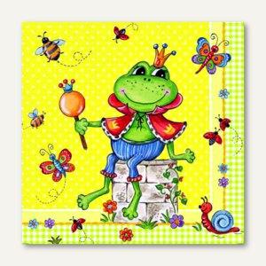 "Dekorservietten ""Prince Frog"", 1/4-Falz, 3-lagig, 33 x 33 cm, 20 Stück, 82139"