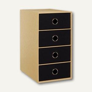 Rössler NATURE BLACK 4er Schubladenbox DIN A5, schwarz, 2er Pack, 1524422004