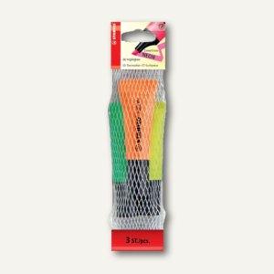 STABILO Textmarker NEON, Keilspitze 2-5mm, sortiert, 3er-Pack, 72/3-2