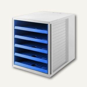 HAN Schubladenbox KARMA, 5 offene Schübe, grau/blau, 14018-16