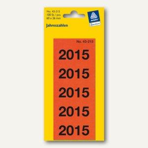 """Inhaltsschilder """"2015"""", selbstklebend, 60 x 26 mm, rot, 100 Stück, 43-215"""