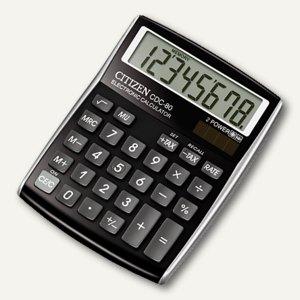 Citizen Taschenrechner CDC-80, 8-stellig, Batterie & Solar, schwarz, CDC-80BKWB