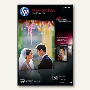 """HP Fotopapier """"Premium Plus"""", glänzend, 10 x 15 cm, 300 g/m², 50 Blatt, CR695AE"""