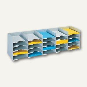 Sortierstation für DIN A4, 25 Fächer, 112 cm breit, stapelbar, grau, 551.02