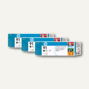 HP Tintenpatrone Nr. 91, Dreierpack, schwarz-foto, 3 x 775 ml, C9481A