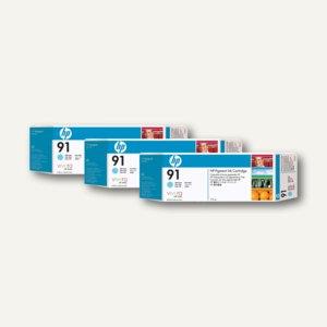 HP Tintenpatrone Nr. 91, Dreierpack, cyan-hell, 3 x 775 ml, C9486A