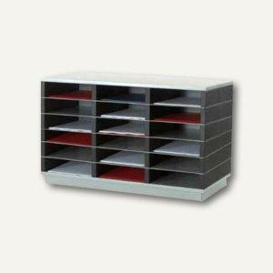 Sortierstation für DIN A4, 18 Fächer, Sockel + Rollen, grau/schwarz, SK18BR.35
