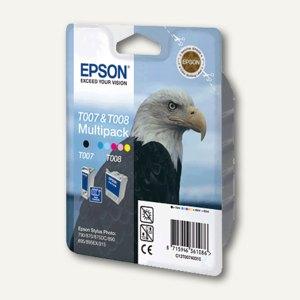 Epson Tintenpatrone T008 & T007, farbig und schwarz, Multipack, C13T00740310