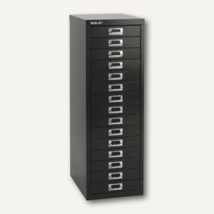 Bisley Schubladenschrank Basis 15er, H 857 x B 278 x T 380mm, schwarz, L3915-633