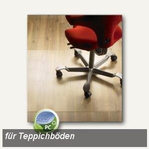 Bodenschutzmatte für Teppichböden, 120 x 120 cm, transparent, Polycarbonat,1220