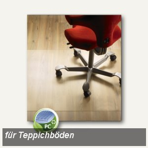 Bodenschutzmatte für Teppichböden, 120 x 140 cm, transparent, Polycarbonat,1270