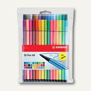 STABILO Fasermaler Pen 68, 1.0, sortiert, 30er Kunststoff-Etui, 6830-1