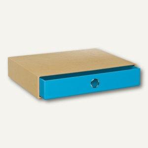 NATURE PACIFIC Schubladenbox für DIN A4, blau, 3er Pack, 15241106000