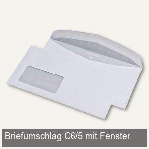 officio Briefumschlag, DIN C6/5, mit Fenster, 80g, weiß, 1.000 Stück, 240292