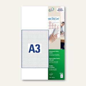 Zweckform Whiteboard-Folien, DIN A3, selbsthaftend, kariert, weiß, 3 Stück,70706