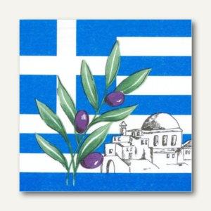 """Papstar Dekorservietten """"Greece"""", 1/4-Falz, 3-lagig, 33 x 33 cm, 600 Stück,17951"""
