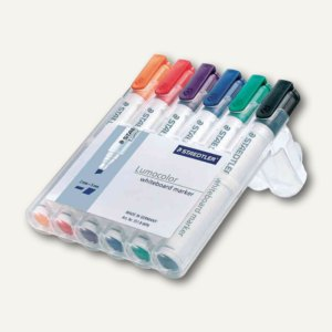 """Staedtler Whiteboard Marker """"Lumocolor"""", Keilspitze: 2-5 mm, 6er-Etui, 351 B WP6"""