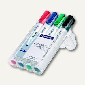 """Staedtler Whiteboard Marker """"Lumocolor"""", Keilspitze: 2-5 mm, 4er-Etui, 351 B WP4"""