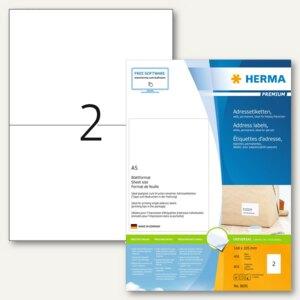 Herma Adressetiketten Premium, A5, 105x148mm, Papier/matt, weiß, 800St., 8691
