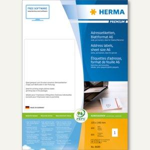 Herma Adressetiketten Premium, A6 105x148mm, Papier/matt, weiß, 800St., 8689