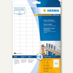 Herma Power Etiketten SPECIAL, 25.4 x 16.9 mm, weiß, 2.800 Stück, 10916