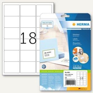 Herma Adressetiketten Premium A4, 63.5x46.6mm, Papier/matt, weiß, 450 Stück,4501