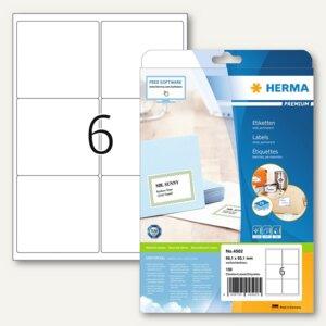 Herma Adressetiketten PREMIUM, A4, 99.1 x 93.1 mm, weiß, 150Stück, 4502