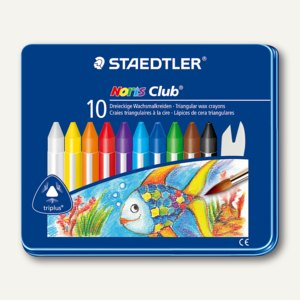 Staedtler Wachsmalkreiden Noris Club triplus, Dreikant, 10er Metall-Etui,228 M10