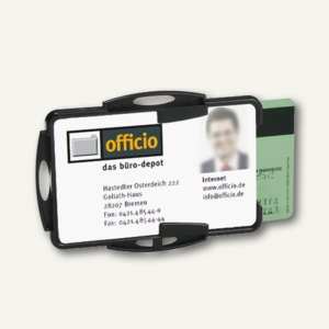 Ausweishalter ohne Befestigung, 87 x 54 mm, offen, doppelt, schwarz, 10 Stück, 8