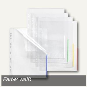 FolderSys Index Prospekthüllen m. Taben, A4, oben+rechts offen, PP, weiß, 100St.