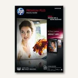 "HP Fotopapier ""Premium Plus"", seidenmatt, DIN A4, 300 g/m², 20 Blatt, CR673A"