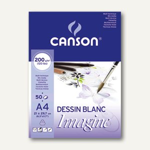 "Canson Skizzenblock ""Imagine"", A4, 50 Blatt, weiß, 200 g/qm, 200006008"