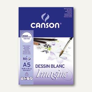 "Canson Skizzenblock ""Imagine"", A5, 50 Blatt, weiß, 200 g/qm, 200006009"
