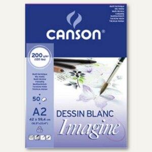 "Canson Skizzenblock ""Imagine"", A2, 50 Blatt, weiß, 200 g/qm, 200006003"