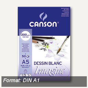 "Canson Skizzenblock ""Imagine"", A1, 50 Blatt, weiß, 200 g/qm, 200005969"