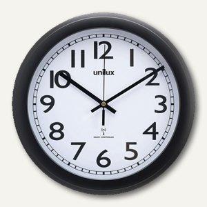 unilux Funkwanduhr WAVE, Durchmesser: 30.5 cm, schwarz, 100340855