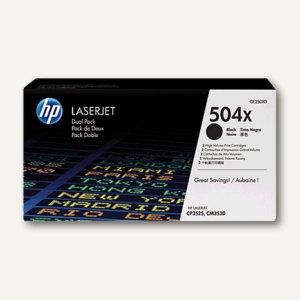 HP Lasertoner 504X, 2 x ca. 5.000 Seiten, schwarz, Doppelpack, CE250XD