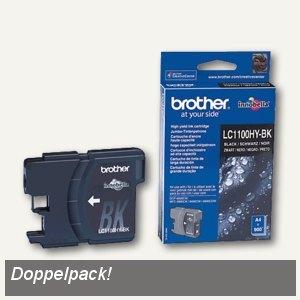 Brother Tintenpatrone schwarz, ca. 2 x 900 Seiten, Doppelpack, LC1100HYBKBP2DR