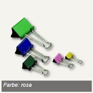 officio Foldback-Klammern, B 19 mm, vernickelt, rosa, 12 Stück, 781S20
