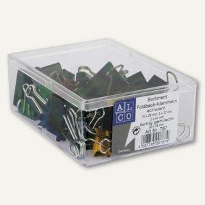 Foldback-Klammern Sortiment, 4 versch. Größen, farbig sortiert, 42 Stück, 787