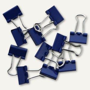 officio Foldback-Klammern, B 25 mm, vernickelt, dunkelblau, 12 Stück, 782S15