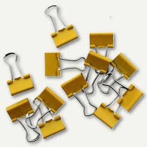 officio Foldback-Klammern, B 25 mm, vernickelt, gelb, 12 Stück, 782S13