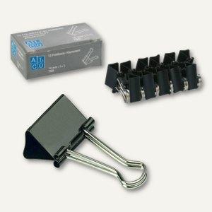 Alco Foldback-Klammern, B 25 mm, vernickelt, schwarz, 12 Stück, 782S11