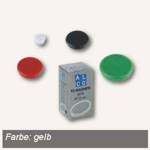Alco Haftmagnet rund, Ø13 mm, 7 mm hoch, 0.1 kg, gelb, 10 Stück, 6818V13
