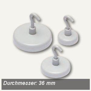 Alco Hakenmagnet, Ø36 mm, 8 kp, weiß, 10 Stück, 694A10