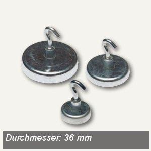 Alco Hakenmagnet, Ø36 mm, 8 kp, verzinkt, silber, 5 Stück, 694-27