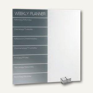 """officio Magnetische Glastafel """"Wochenplaner"""", 40 x 40 cm, grau/weiß, 6985"""