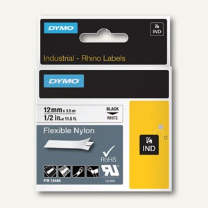 Dymo Rhino Etikettenband, 12 mm x 3.5 m, Nylon, schwarz/weiß, S0718040