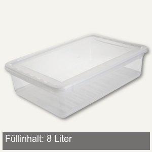 Aufbewahrungsbox/Schuhbox, 390 x 265 x 100 mm, 8 Liter, PP, transparent, 1057500